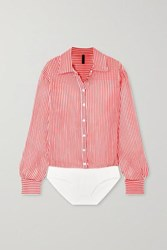 Unravel Project Striped Cotton And Silk Blend Georgette Bodysuit Red