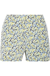 Equipment Lewis Floral Print Washed Silk Shorts Blue