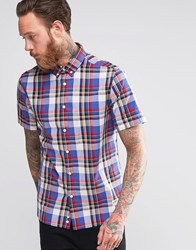 Penfield Shirt With Check Short Sleeves In Classic Regular Fit In Blue Blue