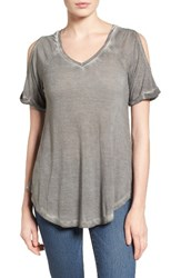 Caslonr Women's Caslon Cold Shoulder V Neck Tee Grey Castlerock