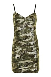 Topshop Camouflage Sequin Bodycon Dress Khaki