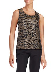 Lafayette 148 New York Metallic Jacquard Tank Top Black Multi