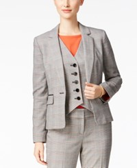 Nine West Plaid One Button Blazer Sunset Multi