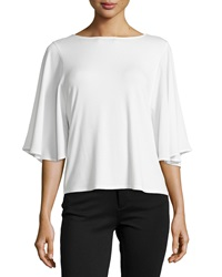 Neiman Marcus Jersey Tee W Contrast Sleeves White
