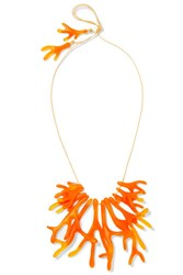 Dinosaur Designs Coral Fan Resin Necklace Orange