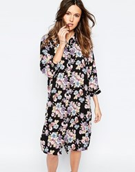 Only Floral Midi Shirt Dress Black