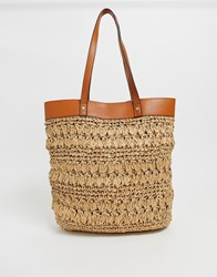 Warehouse Straw Shopper With Pu Detail In Tan