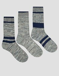 Asos Boot Socks With Placement Stripes 3 Pack Multi