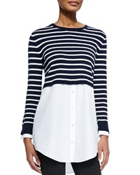 Theory Rymalia Striped Cropped Sweater W Underlay Navy White