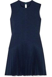 Dion Lee Annex Pleated Bonded Stretch Crepe Mini Dress Navy