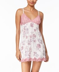 Thalia Sodi Floral Print Lace Chemise Created For Macy's Delicacy