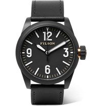 Filson Field Stainless Steel And Leather Watch Black