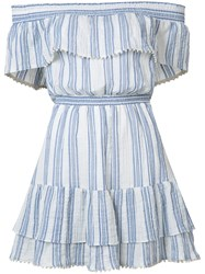 Love Shack Fancy Off Shoulder Striped Dress White