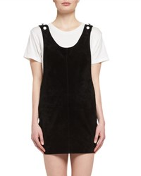 Saint Laurent Suede Apron Dress Black