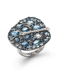 Michael Aram Sterling Silver Botanical Leaf Ring With Blue Topaz And Diamonds Blue Silver