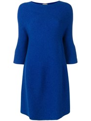 N.Peal Bell Sleeve Tunic Dress Blue
