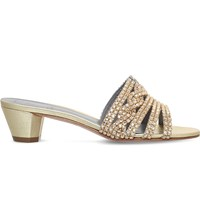 Gina Galaxy Metallic Leather Heeled Sandals Gold