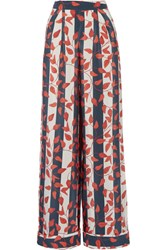 Johanna Ortiz Curacao Printed Silk Crepe De Chine Wide Leg Pants Red