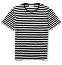 Sandro Slim Fit Striped Linen T Shirt Neutrals