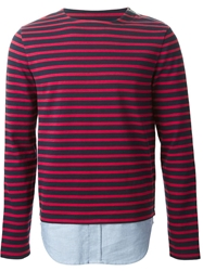 Band Of Outsiders Striped Shirt Hem T Shirt Red