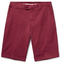 Isaia Stretch Cotton Twill Shorts Claret