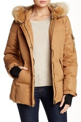 Pendleton Down Parka With Genuine Coyote Fur Trim Beige