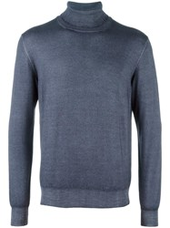 La Fileria For D'aniello Turtleneck Fine Knit Jumper Blue