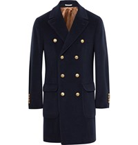 Brunello Cucinelli Double Breasted Virgin Wool And Cashmere Blend Coat Midnight Blue