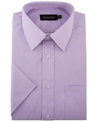 Double Two Men's King Size Short Sleeved Non Iron Cotton Shirt Lilac