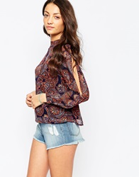 Influence High Neck Paisley Top Navy