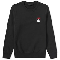 Alexander Mcqueen Embroidered Skull Raven Crew Sweat Black