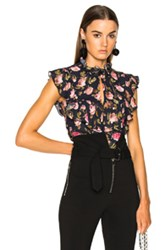 Francesco Scognamiglio Printed Sleeveless Blouse In Black Floral Black Floral