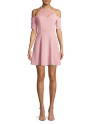 Design Lab Lord And Taylor Lace Fit Flare Cold Shoulder Dress Zephyr