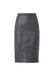 Freda Charcoal Grey Leather Pencil Skirt