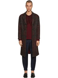 Etro Carpet Motif Wool And Cashmere Blend Coat Bordeaux