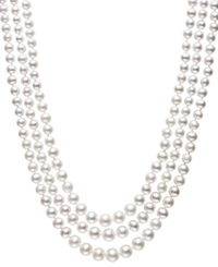 Belle De Mer Pearl Necklace Sterling Silver Cultured Freshwater Pearl Three Strand Necklace 4 8Mm