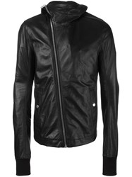 Rick Owens Hooded Leather Jacket Black