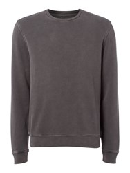 Label Lab Men's Joe Garment Dyed Crew Neck Sweat Dark Grey