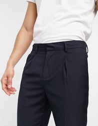 New Look Pleated Smart Trousers In Navy