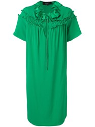 Rochas Ruffled Shift Dress Green
