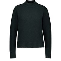 Celine Shetland Wool Jumper With Stand Up Collar Forest