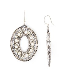 Miguel Ases Cultured Freshwater Pearl Oval Drop Earrings White Silver