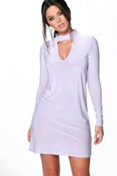Boohoo Long Sleeve High Neck Cut Out Dress Violet