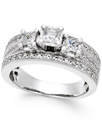 Macy's Diamond Three Stone Engagement Ring 1 Ct. T.W. In 14K White Gold