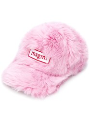 Msgm Furry Cap Pink And Purple