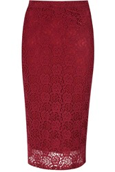 Alice And You Lace Pencil Skirt Burgundy