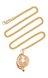 Monica Rich Kosann 18K Rose Gold Mars Passion Charm Necklace With Rubies On 26 Yellow Gold Cable Chain