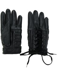 Ktz Lace Up Biker Gloves Artificial Leather Black