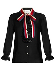 Gucci Frill Trimmed Silk Georgette Blouse Black