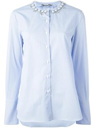 Ermanno Scervino Embellished Collar Shirt Blue